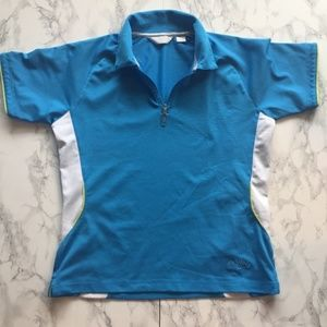 Women Medium Blue and White Callaway Polo